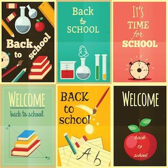 Powrót do szkoły zestaw ilustracji