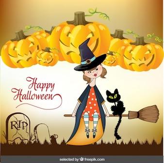 Pozdrowienia Halloween z cute czarownica