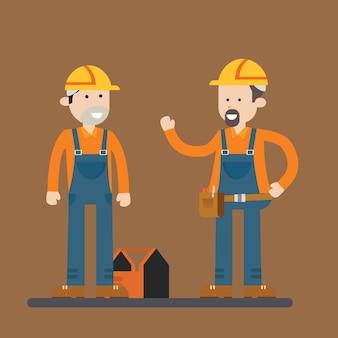Pracownik budowlany kreskówka charakter
