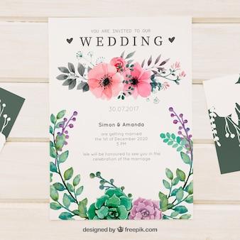 Pretty kwiatowy zaproszenie na wesele akwarela