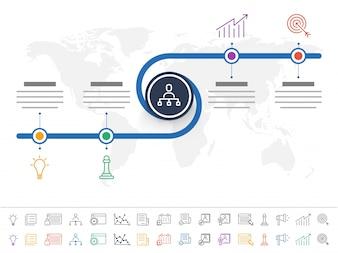 Prezentacja firmy Infographic szablonu z 4 kroki i kolorowe ikony zestaw.