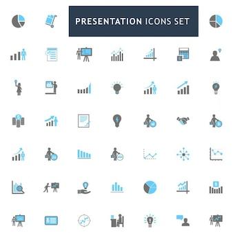 Prezentacja niebieskim i szarym kolorze zestaw ikon
