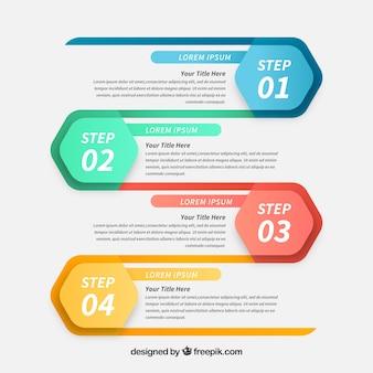 Profesjonalne kroki infograficzne o abstrakcyjnym stylu