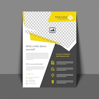 Profesjonalny Ulotka w kolorze żółtym i szarym, broszura firmowa, raport roczny i szablon Projektu Okładek dla Twojej firmy.