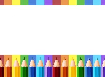 Projekt granicy z ołówkami kolorowymi