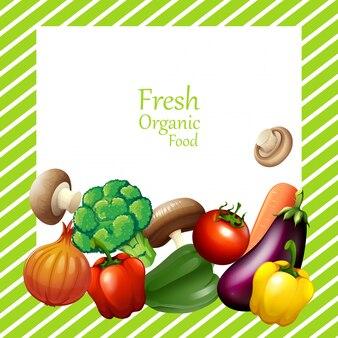 Projekt granicy ze świeżymi warzywami