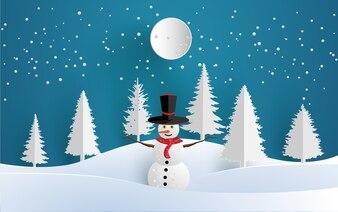 Projekt papieru artystycznego z dekoracjami w zimie i śniegu. snowmen na wzgórzu.
