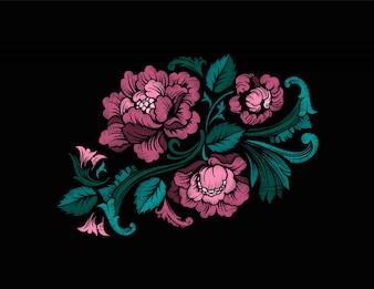Projekt wzoru haftu w stylu barokowym. Wektor