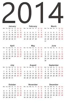 Prosty kalendarz 2014