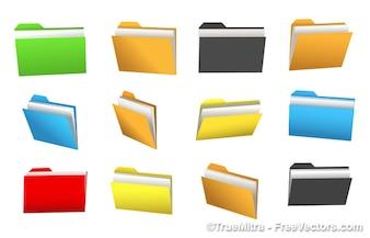 Przeglądarka Zestaw wektora kolorowe folderu
