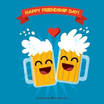 Przyjaźń dzień tła z piwa