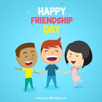 Przyjaźń dzień tła z trzech szczęśliwych przyjaciół