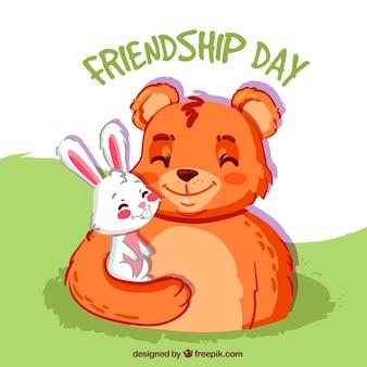 Przyjaźń tle dzień z Bear i królik