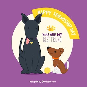 Przyjaźń tle dzień z dwoma psami