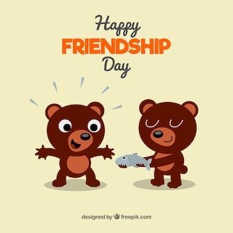 Przyjaźń tle dzień z niedźwiedzie