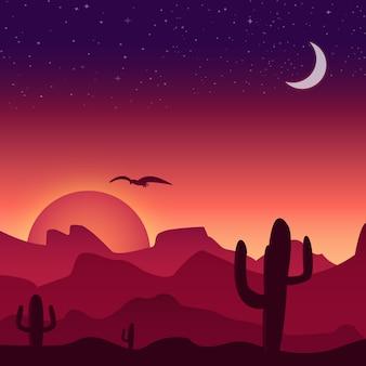 Pustynia zachód słońca tła