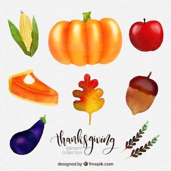 Pyszne akwarela Dziękczynienia zestaw żywności