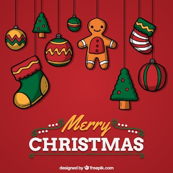 Ręcznie malowane czerwony kartki świąteczne dekoracje
