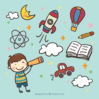 Ręcznie malowane dzieciaka z lunetą