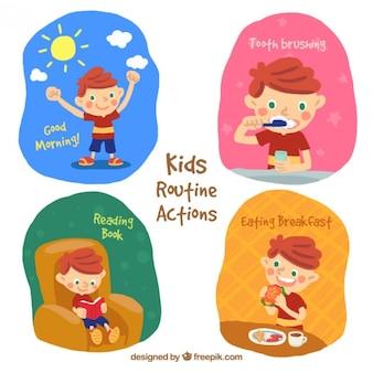 Ręcznie malowane dziecko robi rutynowych czynności