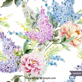 Ręcznie malowane kwiaty retro