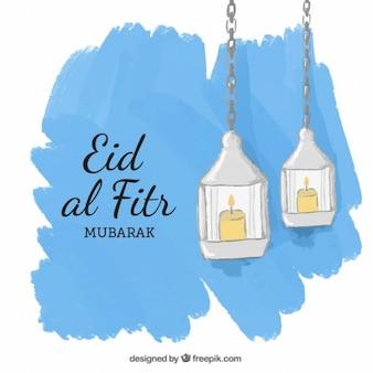 Ręcznie malowane lanters Id al-Fitr tle