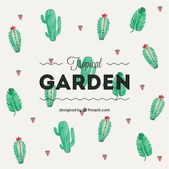 Ręcznie malowane ogród tropikalny tło