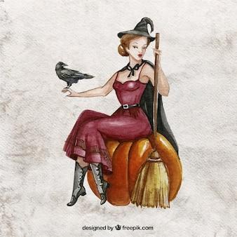 Ręcznie malowane piękna czarownica