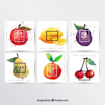 Ręcznie malowane plakaty owoce