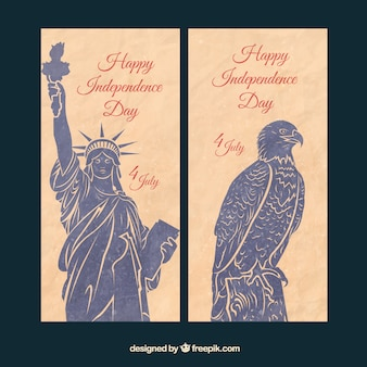 Ręcznie malowane Vintage American banery