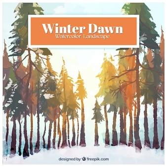 Ręcznie malowane zimowy świt