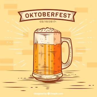 Ręcznie narysowany orzeźwiający kufel piwa