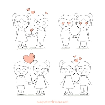 Ręcznie rysowane ładne parę kochanków