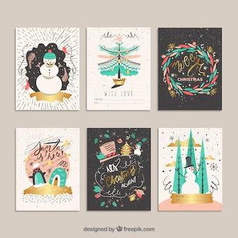 Ręcznie rysowane śmieszne kartki świąteczne