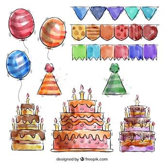 Ręcznie rysowane Akwarele urodziny paczka