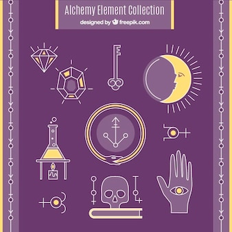 Ręcznie rysowane alchemiczne znaki i symbole opakowań