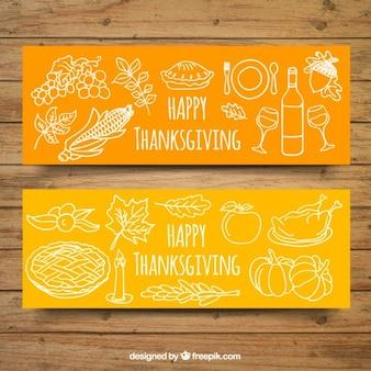 Ręcznie rysowane banery na Święto Dziękczynienia z białymi elementami
