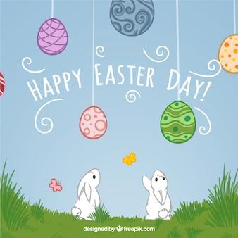 Ręcznie rysowane cute szczęśliwy dzień Wielkanocy tle