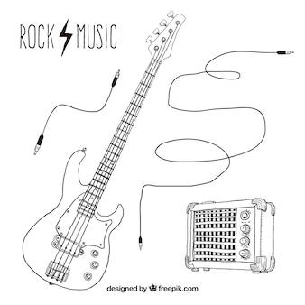 Ręcznie rysowane elementy rock music