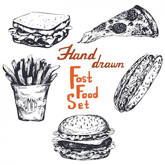 Ręcznie rysowane fast food set