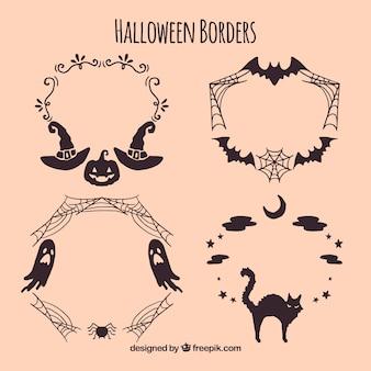 Ręcznie rysowane halloween obramowania pack