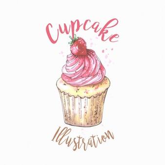 Ręcznie rysowane ilustracji Cupcake