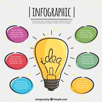 Ręcznie rysowane infografika w różnych kolorach