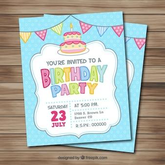 Ręcznie rysowane kartka urodzinowa