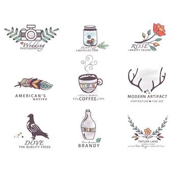 Ręcznie rysowane kolekcji etykiety logo