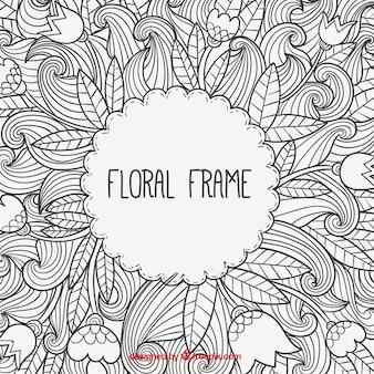 Ręcznie rysowane kwiatów ramka w stylu doodle