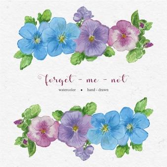 Ręcznie rysowane kwiaty nie zapomnij mnie