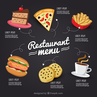 Ręcznie rysowane menu restauracji na tablicy