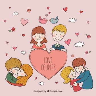 Ręcznie rysowane pary w miłości