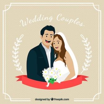 Ręcznie rysowane piękny ślub para w miłości karty